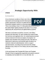 America's Strategic Opportunity With India