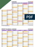 Academic Calendar 2016 2017 Landscape 2 Pages