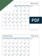 2016 Monthly Jun Sep Calendar6