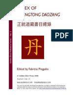 Index of Zhengtong Daozang