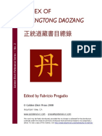Index of Zhengtong Daozang