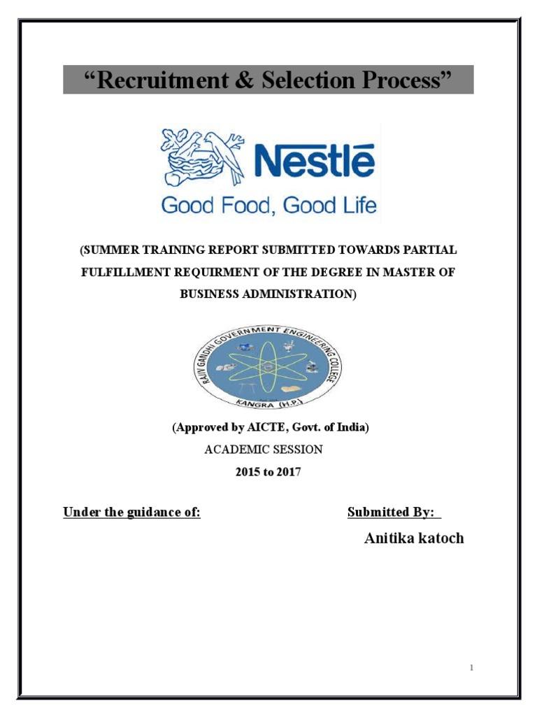 Anitika MBA   Recruitment   Nestlé