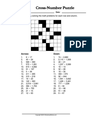 WorksheetWorks CrossNumber Puzzle 2