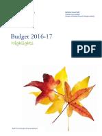 Budget 2016-17 - Highlights