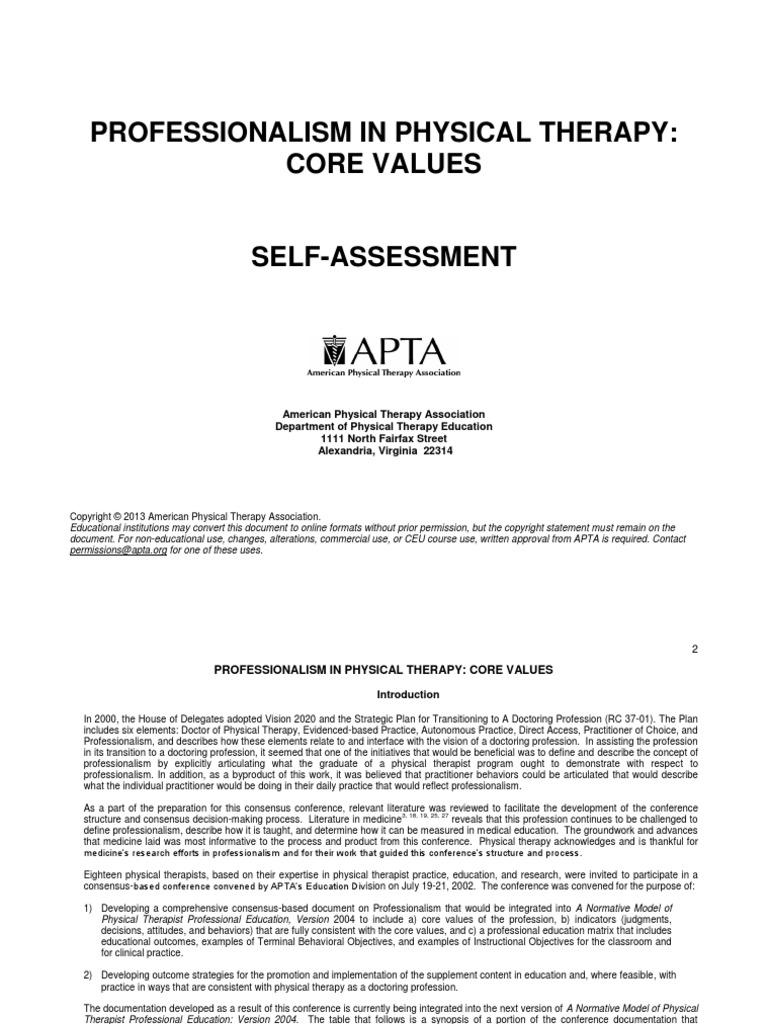Apta Professionalism Core Values Self Assessment Psychotherapy