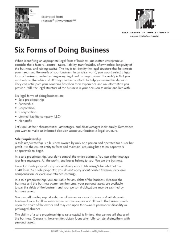 Six Legal Forms Of Business Partnership Limited Liability Company - Corporation legal form
