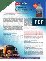 Premium API CJ-4 Synthetic 5W-40 Diesel Oil Data Bulletin