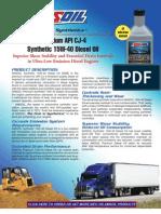 Premium API CJ-4 Synthetic 15W-40 Diesel Oil Data Bulletins