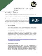 9ª Avance Mensual de Gestión del CF EE.GG.CC. - Julio - Agosto