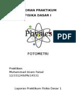 Laporan Praktikum Fotometri - Imam Faisal