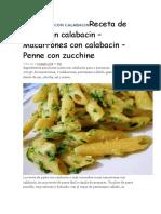 MACARRONES CON CALABACINReceta de Pasta Con Calabacin