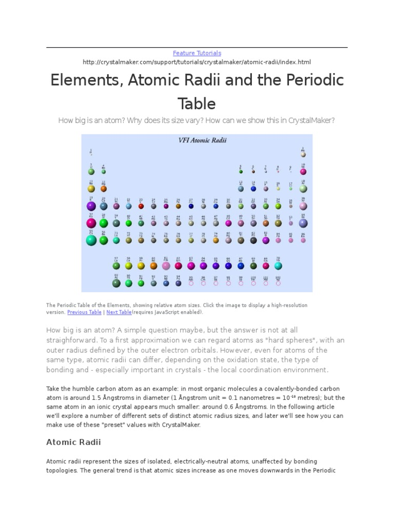 Elements Atomic Radii And The Periodic Table Atoms Chemical Bond