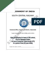 SC Railway Divisional Office, Commercial Branch, Vijayawada Tender Notice No