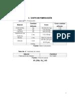 Costos de Fabricacion, Metano