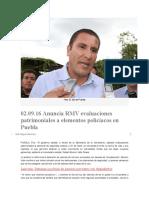 02.09.16 Anuncia RMV evaluaciones patrimoniales a elementos policíacos en Puebla