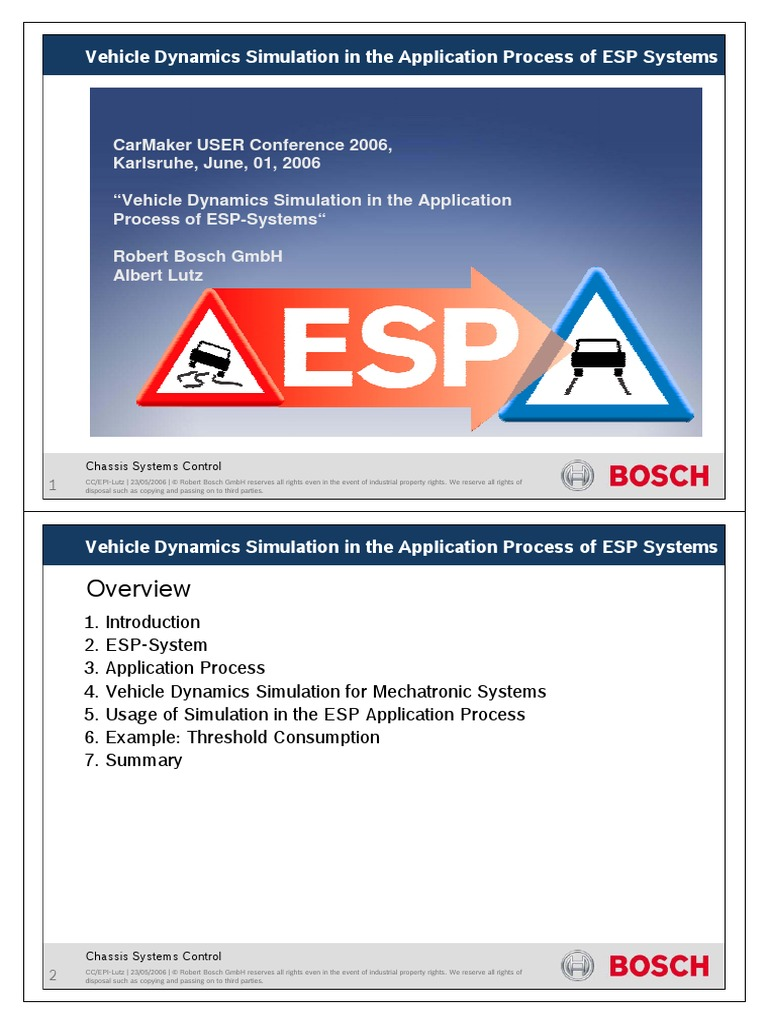 Vehicle Dynamics Simulation in the Application Process of ESP