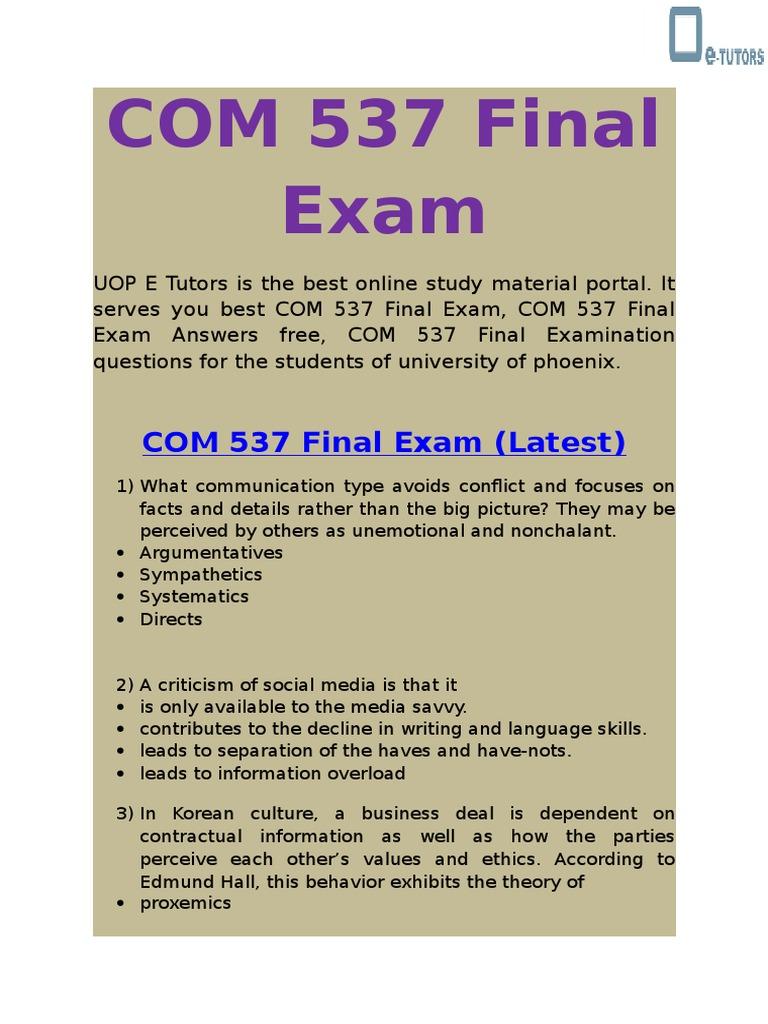UOP E Tutors - COM 537 Final Exam Answers Free | Walt Disney