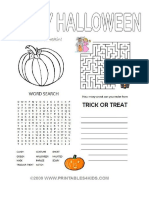 Halloween Word Search Maze Writing A2