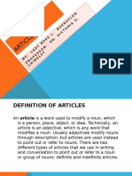 Uses of Articles Ppt.
