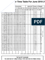 May Timetable 2010
