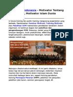 Motivator Indonesia, Motivator Tentang Cinta, Motivator Islam Dunia