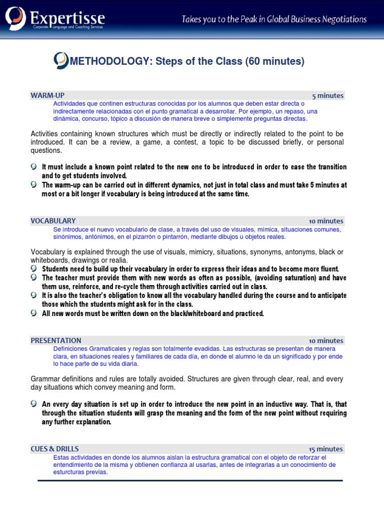 Metodologia Pasos De La Clase 2014 Grammar Cognition