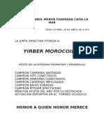 Placas de La Liga de Béisbol Menor Federada Catia La Mar
