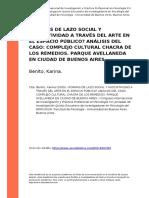 Benito, Karina (2009). ¿Formas de Lazo Social y Asociatividad a Traves Del Arte en El Espacio Pu..