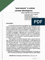 Maria Célia M. Moraes. Pós-Ismos e outras querelas ideológicas