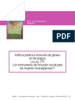 Solís Medrano, A. (Agosto - Diciembre de 2014). Política pública e inclusión de género en Nicaragua La Ley 779 ¿Un instrumento de inclusión social para las mujeres nicaragüenses.pdf