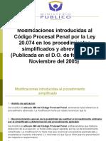 Modificaciones Al Codigo Procesal Penal  Ley 20 074 Procedimiento Abreviado y Simplificado