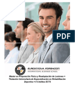 Master en Preparación Física y Readaptación de Lesiones + Titulación Universitaria de Especialización en Rehabilitación Deportiva + 8 Créditos ECTS