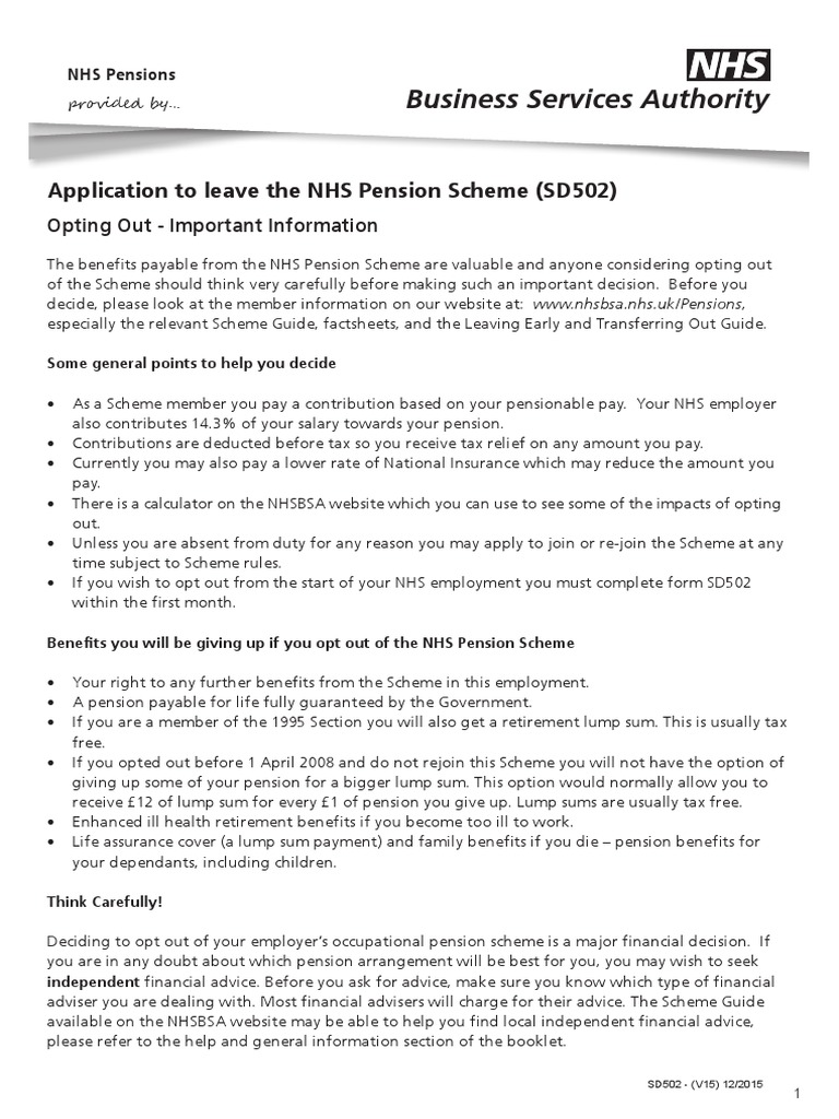 Nhs Pension Opt Out >> Sd502 V15 12 2015 National Health Service England
