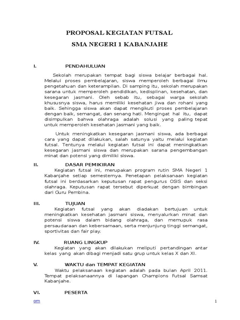 Contoh Proposal Kegiatan Futsal