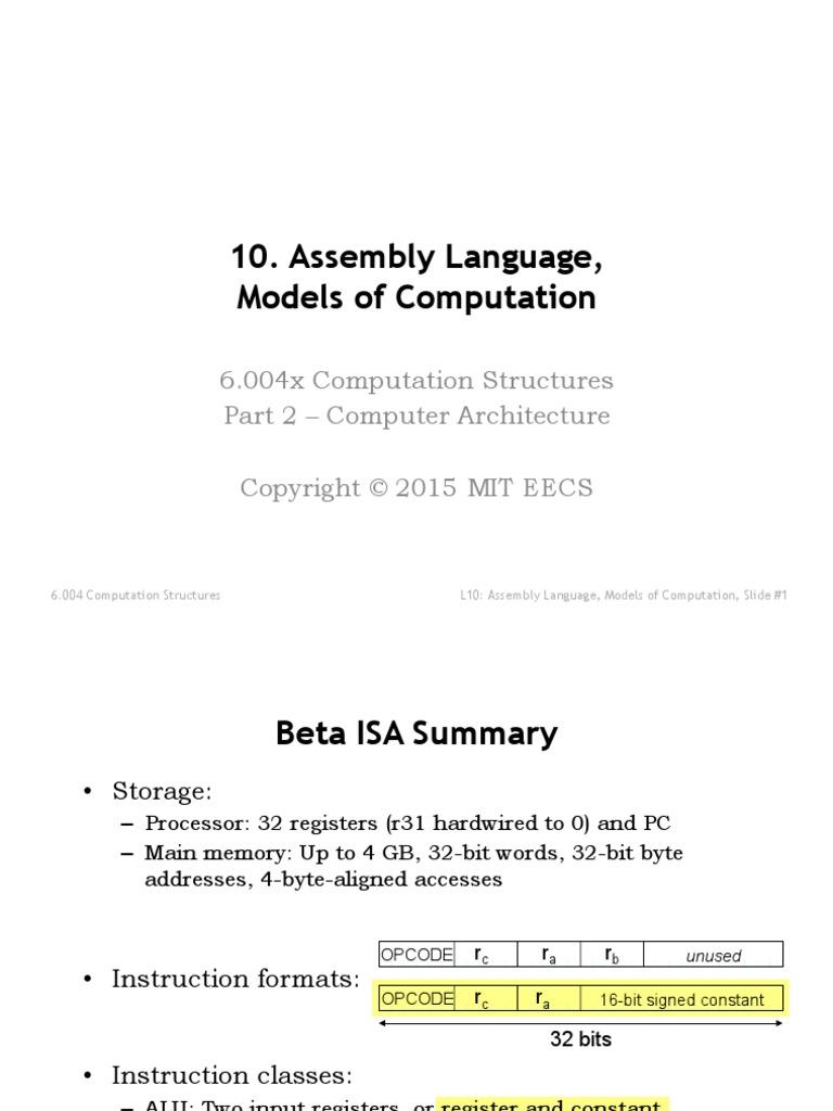 2 Pdfs Assembly Lecture | Assembly Language | Algorithms