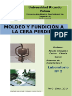 Guias de Laboratorio 2 de Manufactura FUNDICION a LA CERA PERDIDA