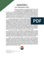 Declaración Pública - Lista Trabajadores Al Poder - Elecciones CUT  - MIR 2016