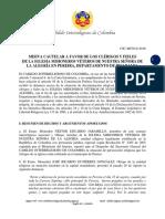 Misiva Cautelar CIC-MC010-2016 a favor de la Iglesia Misioneros Véteros de Ntra. Sra. de la Alegría en Pereira