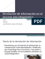 Devolución de Información en El Proceso Psicodiagnóstico