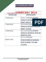 Calendario Academico 2016-II BECA 18