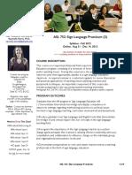asl 752  sign language practicum fall 2015 syllabus - three sections