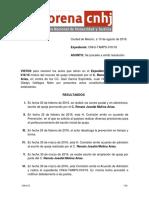 Resolución CNHJ MORENA 10 Agosto 2016. Dto 4 en Matamoros Tamaulipas Sanción