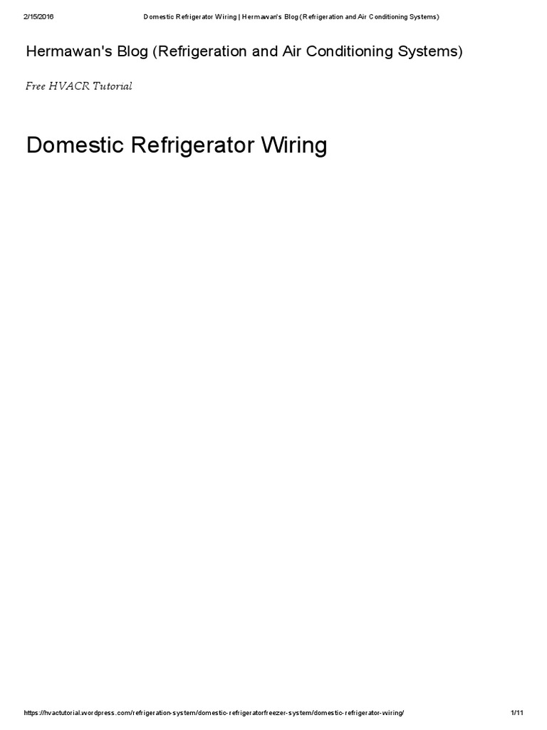 Domestic Refrigerator Wiring Hermawans Blog Refrigeration And Air Conditioning Systems Hvac