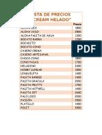 Lista de Precios Cream Helado