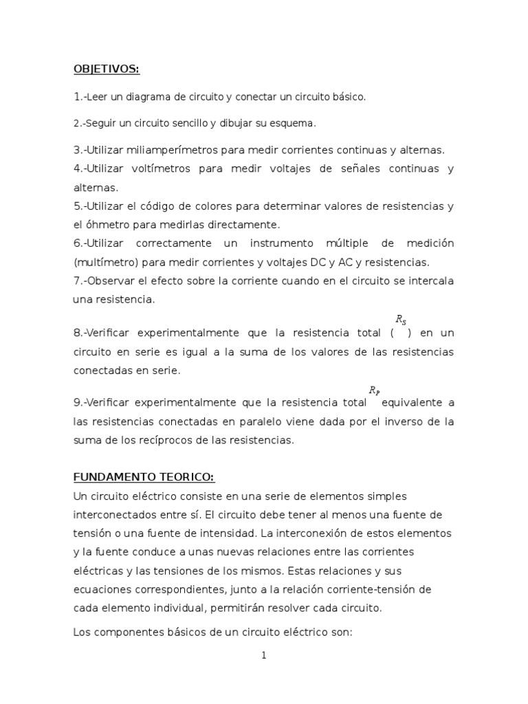 Circuito Sencillo : Circuitos y medidas basicas 1.docx