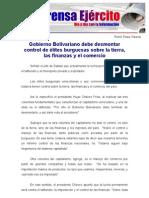 Gobierno Bolivariano debe desmontar control de élites burguesas sobre la tierra, las finanzas y el comercio