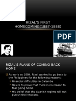 Rizal's First Homecoming
