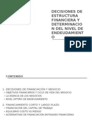Decisiones De Estructura Financiera Y Determinacion Del