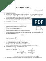 Summative Assessment-1 Class 9 Mathematics Guess Paper-2, 2016