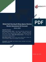 Global Anti-Snoring & Sleep Apnea Devices Market Assessment & Forecast 2016 - 2020